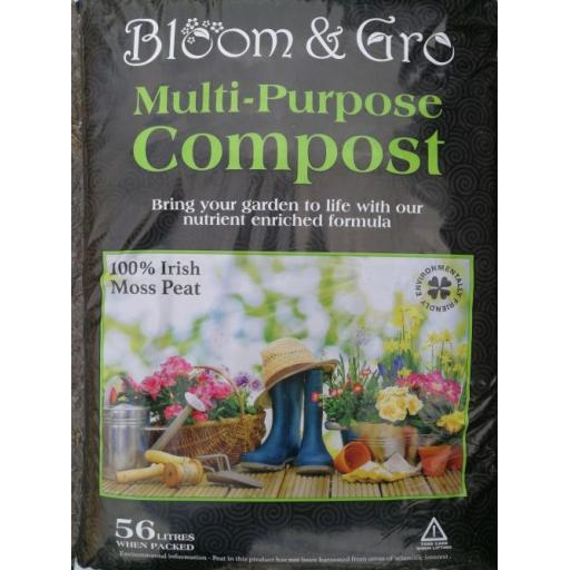 Bloom & Gro Multi Purpose 100% Peat Moss  Compost 56ltr