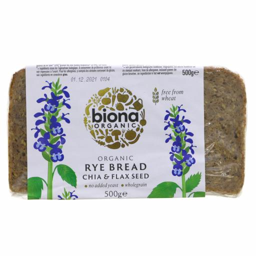 Organic Rye Bread Chia & Flax - 500G
